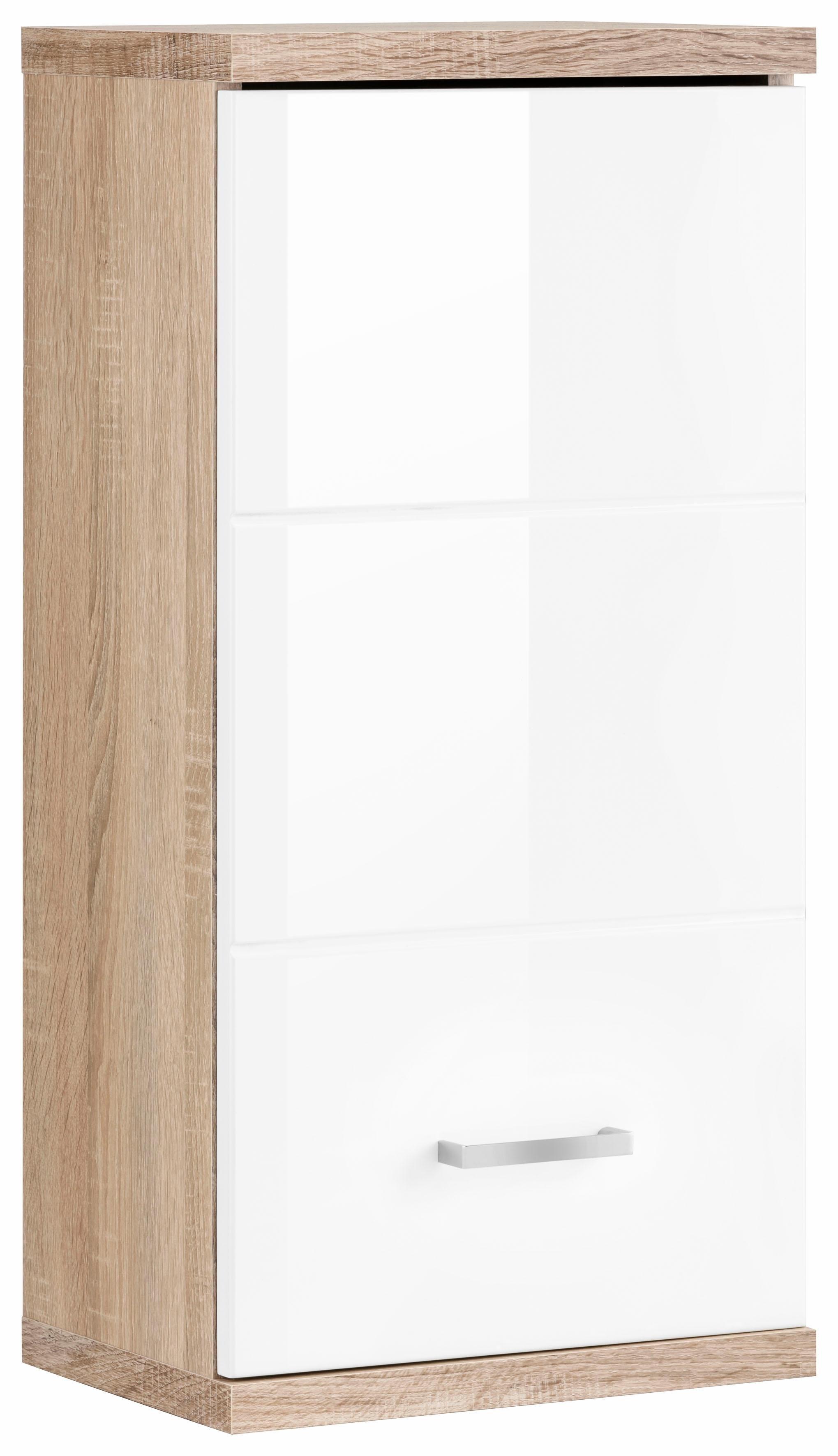 Homexperts hangend kastje Nusa Breedte 35 cm, badkamerkast met metalen greep, verwisselbare draairichting, mdf-front in hoogglans-look - verschillende betaalmethodes