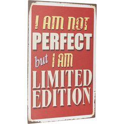 home affaire stalen schild »i am not perfect …«, afm. (bxh): ca. 30x45 cm bruin