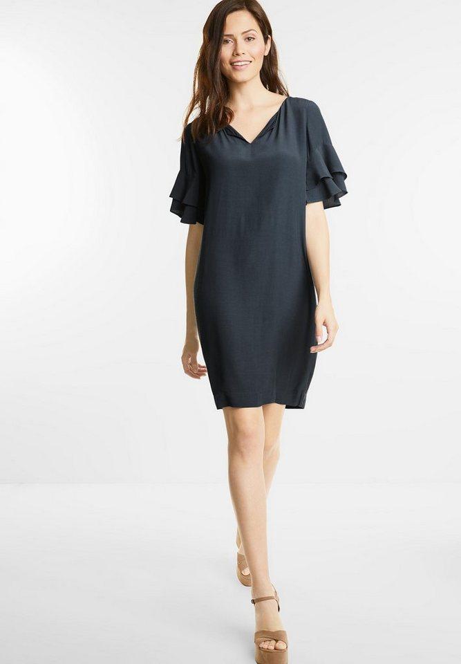 Street One jurk met volantmouwen grijs