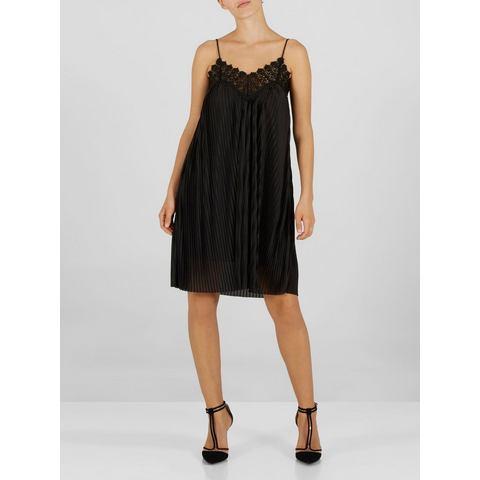 Y.A.S kanten en geplooide jurk zwart