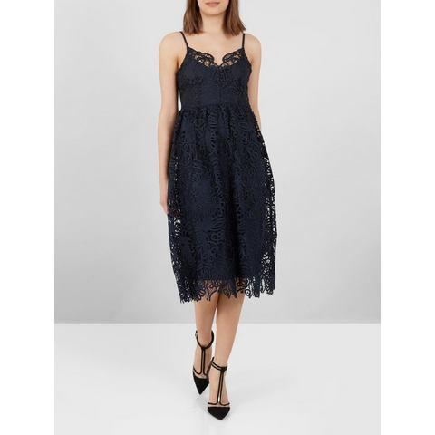 Y.A.S kanten Midi jurk blauw