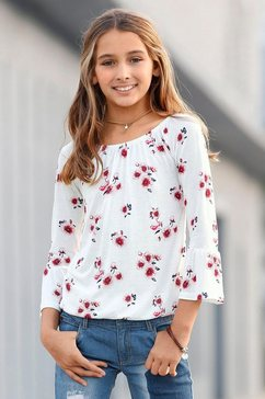 arizona shirt met carmenhals beige