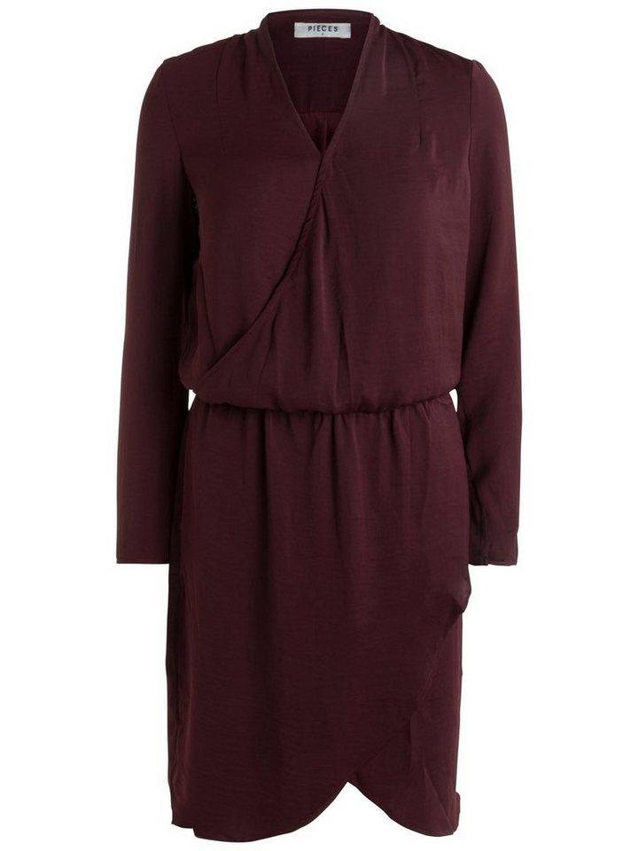 NU 21% KORTING: Pieces Lange mouw jurk rood