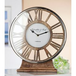 gilde staande klok klok negro hoogte 34 cm, rond, romeinse getallen, woonkamer (1 stuk) bruin