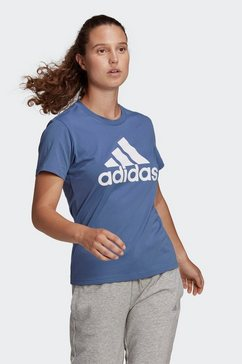adidas performance t-shirt »loungewear essentials logo« blauw