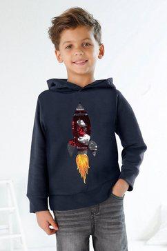 kidsworld hoodie met raket van omkeerbare pailletten blauw