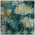 artland print op glas blauwe chrysanten i (1 stuk) multicolor