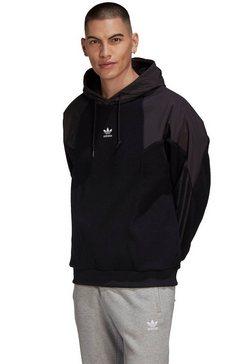 adidas originals fleecetrui big trefoil mix hoody zwart