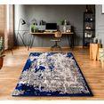my home vloerkleed edda vintage-look, woonkamer blauw