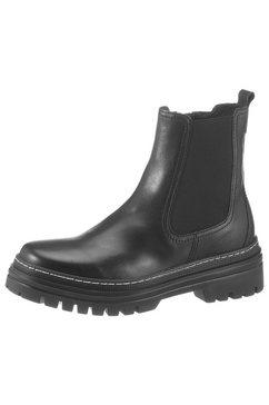 gabor chelsea-boots met contrast-doorstiknaad zwart