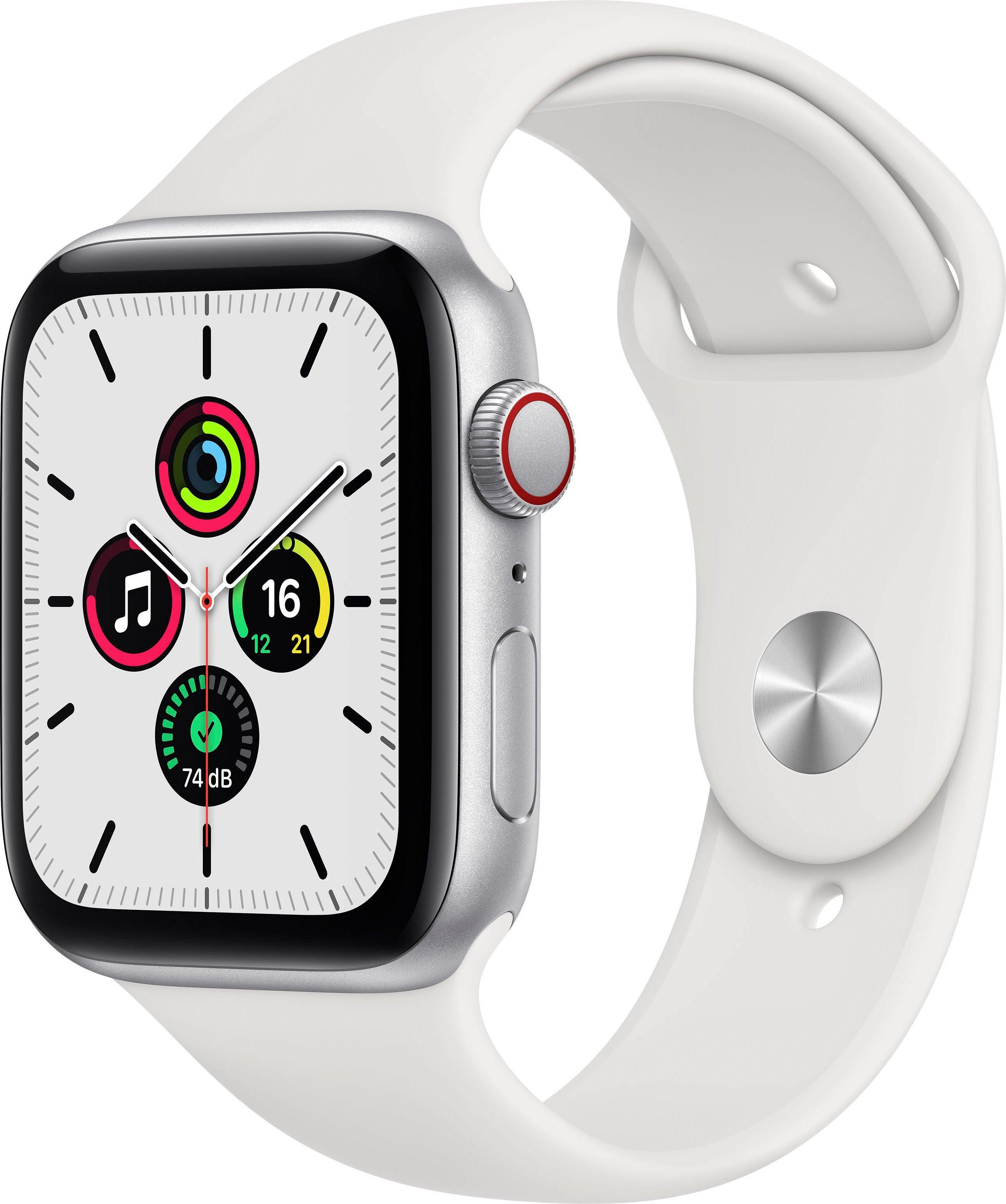 Apple watch SE gps + Cellular, aluminium kast met sportbandje 44 mm inclusief oplaadstation (magnetische oplaadkabel) nu online kopen bij OTTO