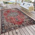 paco home vloerkleed artigo 436 orint-look, vintage-design, geschikt voor binnen en buiten, woonkamer rood