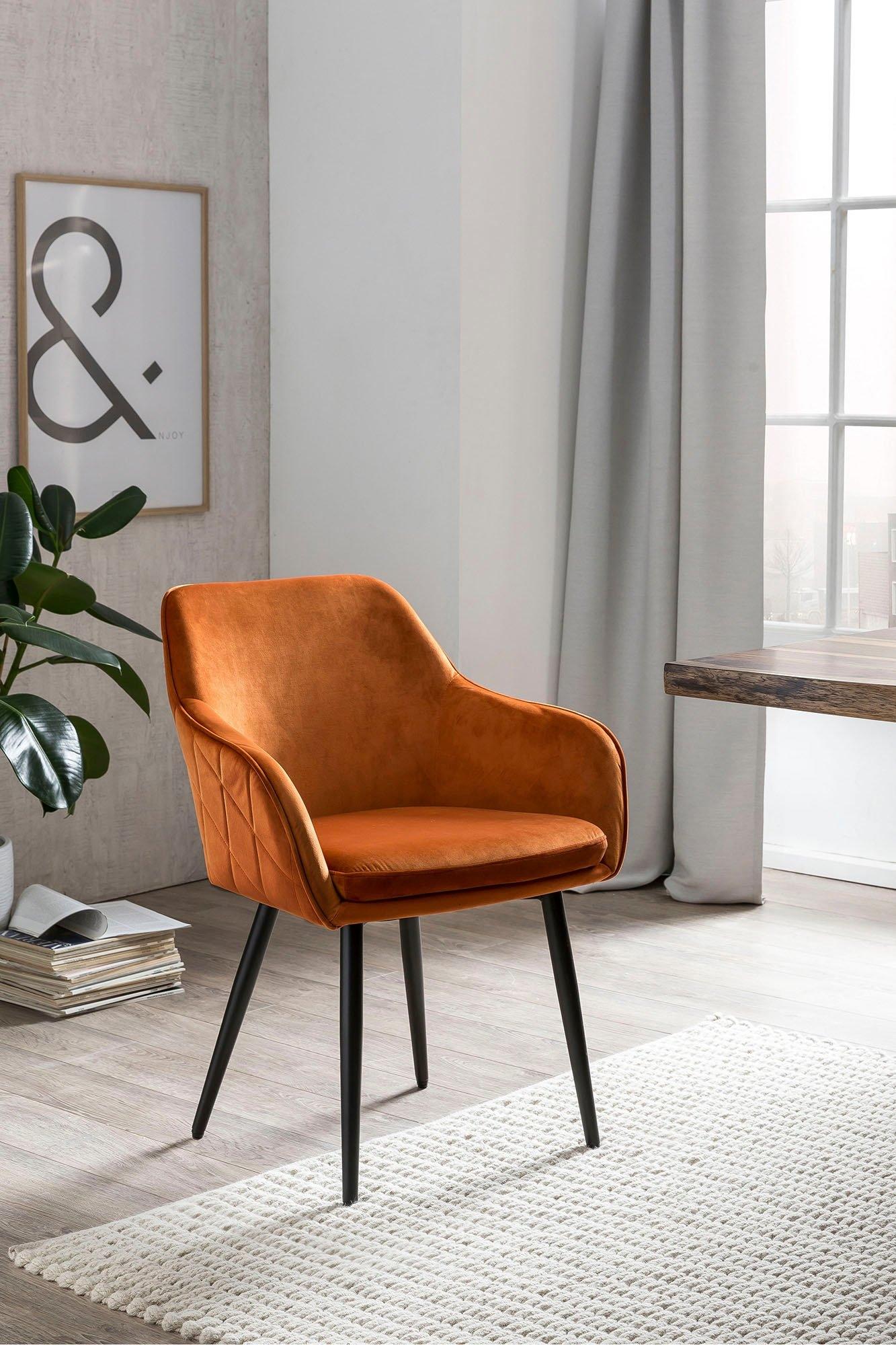 SalesFever eetkamerstoel met diamantvormig stiksel aan de achterkant, stoel met armleuningen, kuipstoel nu online bestellen