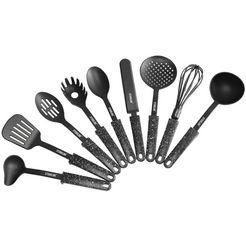 stoneline set keukengerei kunststof, met steun (set, 9-delig) zwart