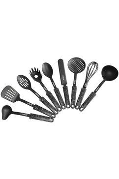 stoneline set keukengerei kunststof, met steun (set, 9 delig) zwart