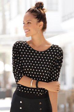 lascana shirt met ronde hals met pofmouwen zwart