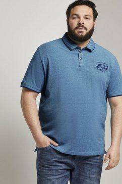 tom tailor men plus poloshirt »zweifarbiges poloshirt mit logo-stickerei« blauw