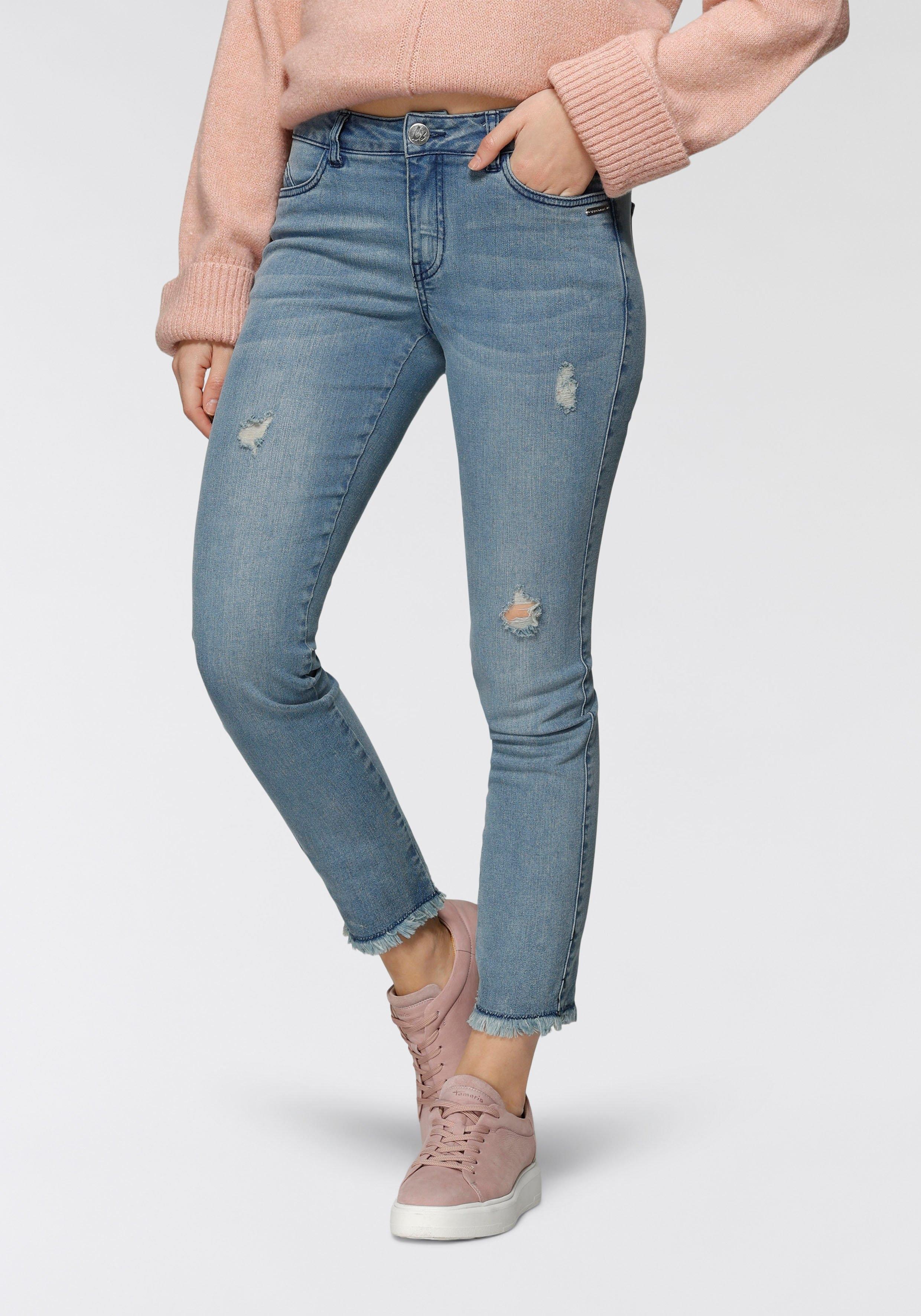 Bruno Banani Destroyed jeans met franjezoom - nieuwe collectie voordelig en veilig online kopen