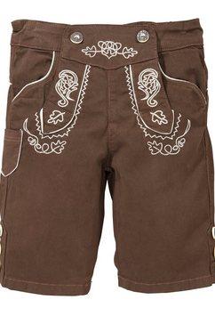 bondi folklorebroek in lederhose-look met in wijdte verstelbare band bruin