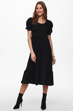 only midi-jurk onlmay met pofmouwen zwart