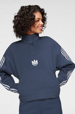 adidas originals sweatshirt »adicolor 3d trefoil fleece half-zip« blauw