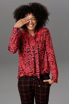 aniston casual lange blouse met helder groene ogen met animal-print - nieuwe collectie rood