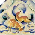 artland artprint reen in de sneeuw. 1911. in vele afmetingen  productsoorten - artprint van aluminium - artprint voor buiten, artprint op linnen, poster, muursticker - wandfolie ook geschikt voor de badkamer (1 stuk) wit