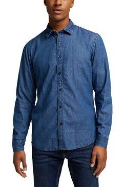 edc by esprit jeansoverhemd in klassieke look blauw
