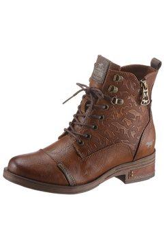 mustang shoes hoge veterschoenen met rits aan de binnenkant bruin