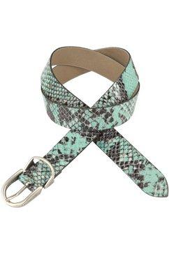 vanzetti leren riem met gekleurde slangenprint groen