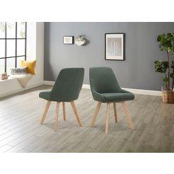 inosign stoel dilla afzonderlijk en in set van 2 verkrijgbaar, overtrekstof van gemakkelijk te onderhouden weefstof en massief eikenhouten poten, zithoogte 48 cm (set, 1 stuk) groen