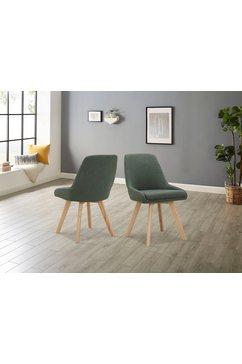 inosign stoel dilla afzonderlijk en in set van 2 verkrijgbaar, overtrekstof van gemakkelijk te onderhouden weefstof en massief eikenhouten poten, zithoogte 48 cm (set) groen