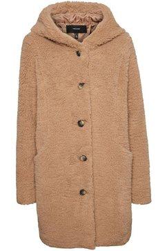 vero moda lange jas van imitatiebont vmcozyjoyce 3-4 teddy coat bruin