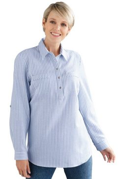 classic basics flanellen blouse blauw
