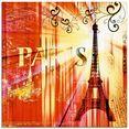 artland print op glas parijs skyline collage iii (1 stuk) oranje