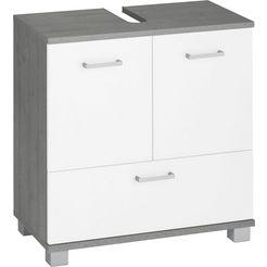 schildmeyer wastafelonderkast mobes breedte x hoogte: 59,8x62,4 cm, badkamerkast met dubbele deur en klep, uitsparing voor afvoerleiding grijs
