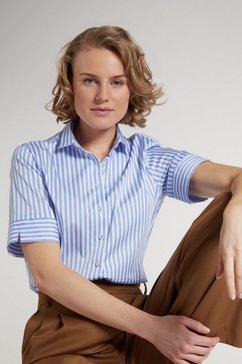 eterna overhemdblouse modern classic korte mouwen blauw