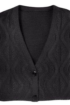 classic basics mouwloos vest in hoogwaardige materialenmix zwart