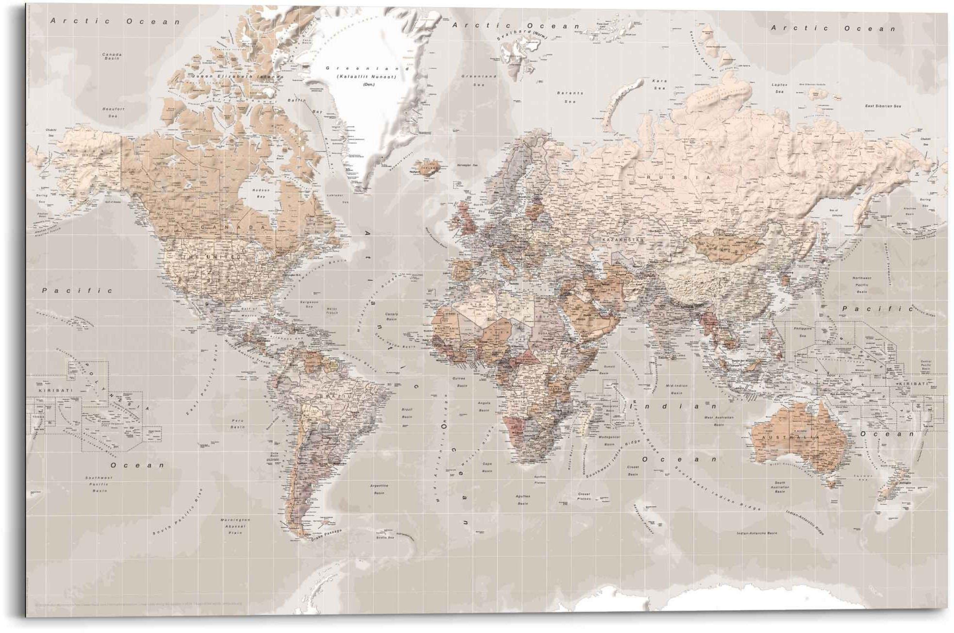 Reinders! artprint Wandbild Weltkarte Natürlicher Farbton - Erdfarben - Detailliert (1 stuk) in de webshop van OTTO kopen