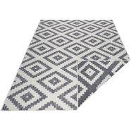 bougari vloerkleed malta platweefsel, geschikt voor binnen en buiten, ruiten-design, voor terras en balkon, woonkamer grijs