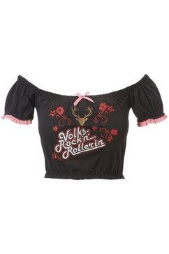 andreas gabalier collectie folklore-damesshirt in carmen-look zwart