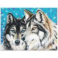 artland print op glas grijze wolf i (1 stuk) blauw