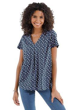 classic basics blouse met zwaluwenprint allover blauw