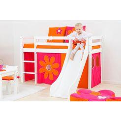 hoppekids hoogslaper incl. glijbaan met zijkanten die beschermen tegen het uit bed vallen, matras en ladder multicolor