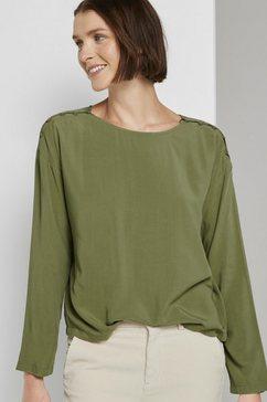 tom tailor denim blouse met lange mouwen »lockere bluse mit knopfleisten« groen