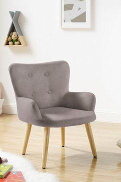 luettenhuett fauteuil levent mini met metalen poten in eiken-look, in verschillende bekledingskwaliteiten en kleurvarianten, zithoogte 31 cm (1 stuk) grijs