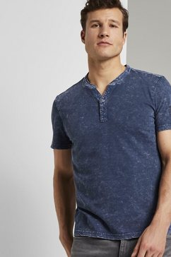 tom tailor t-shirt »henley-t-shirt im washed-look« blauw