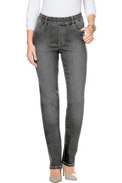 classic basics jeans met elastische band rondom grijs