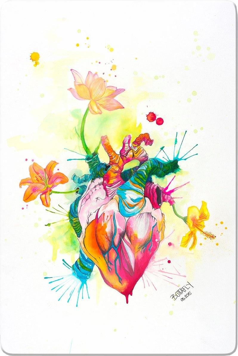 Wall-Art print op glas Buttafly - Nature Beating Heart 40/60 cm online kopen op otto.nl