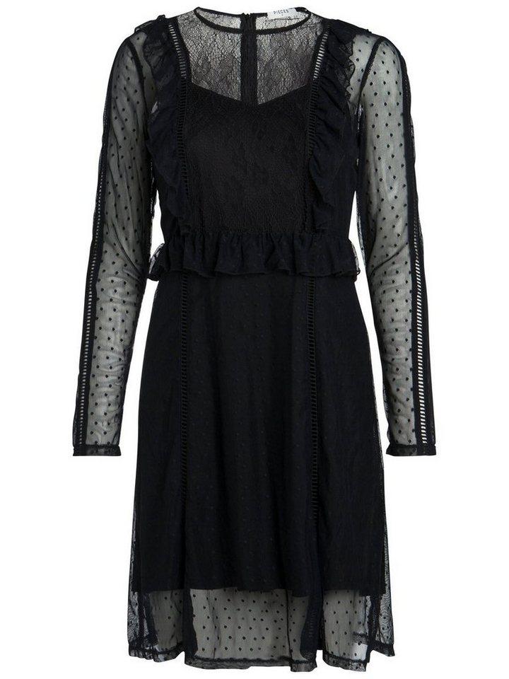NU 21% KORTING: Pieces Lange mouw mesh jurk zwart